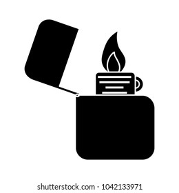 lighter icon - flat icon - vector fire flame isolated - smoking cigarette sign