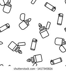 Lighter Icon Seamless Pattern Vector. Gas Tool. Tobacco Lighter Icons. Burning Object. Plastic Accessory. Flat Illustration