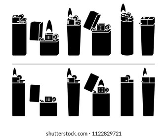 Lighter icon set. Vector
