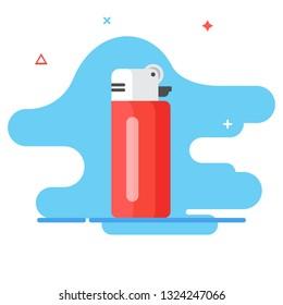 Lighter illustration concept. Lighter icon in flat design. Lighter and fire concept.