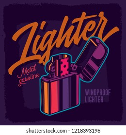 Lighter in neon colors. Vector illustration in vintage style.