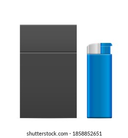 Lighter and pack of cigarettes on a white background.