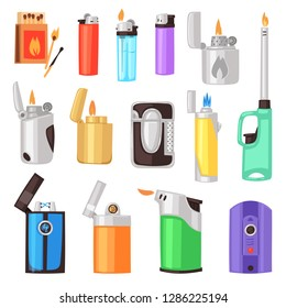 Lighter vector cigarette-lighter with fire or flame light to burn cigarette illustration set of flammable smoking equipment isolated on white background