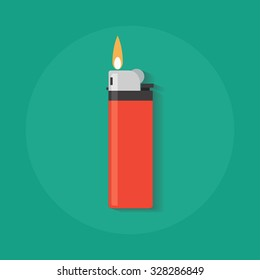 Lighter vector icon in flat style. Manual, gas lighter with a burning flame in flat style.