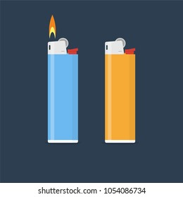 Lighter vector illustration in flat style. Gas lighter with a burning flame