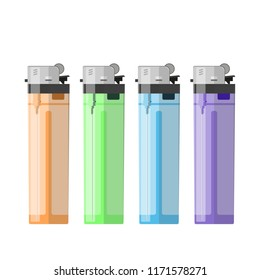 Lighters in four colors - orange, green, blue, purple. smoking. tobacco burn. vector illustration , eps 10