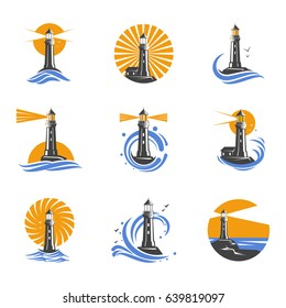 Lighthouse among sea waves vector icons. Coastal towers with a beam of searchlight for marine navigation of ships. Set of black and white lighthouses on a white background.
