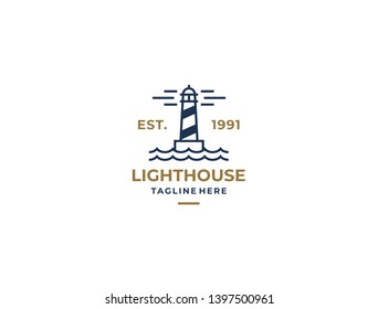 Lighthouse, Beacon logo icon. Vector Illustration. Modern linear simple logotype template. Lighthouses and ocean waves.