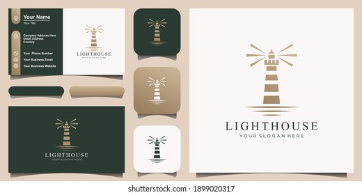 Lighthouse, Beacon logo icon. Vector Illustration.