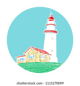 Lighthouse, beacon, pharos in circle icon design for logo vector illustration sketch