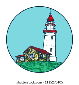 Lighthouse, beacon, pharos in circle icon stock vector illustration sketch
