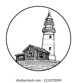 Lighthouse, beacon, pharos in circle icon black and white design for logo and coloring book vector illustration sketch