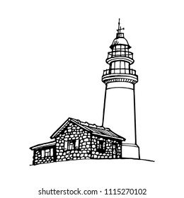 Lighthouse, beacon, pharos hand drawn black and white design for logo and coloring book vector illustration sketch
