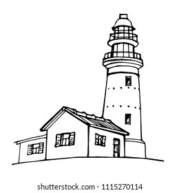Lighthouse, beacon, pharos hand drawn icon black and white design for logo and coloring book vector illustration sketch