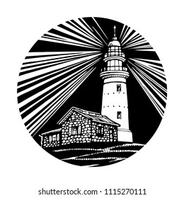Lighthouse, beacon, pharos night with dark sky in circle icon black and white design for logo and tattoo vector sketch