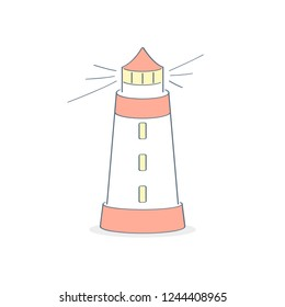 Lighthouse, beacon, pharos, screed, seamark, searchlight towers for maritime navigational guidance. Guide and help icon concept. Flat line cartoon vector illustration.