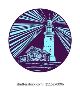 Lighthouse, beacon, pharos shining at night with dark sky in circle, seamark icon monochrome design for logo and tattoo vector sketch