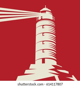 Lighthouse, Beacon, Lighthouse Stands on Rocks, red background, vector Illustration