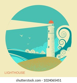 lighthouse blue label with sea waves. Vintage seascape