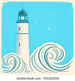 Lighthouse blue poster.Vector seascape image on old paper texture