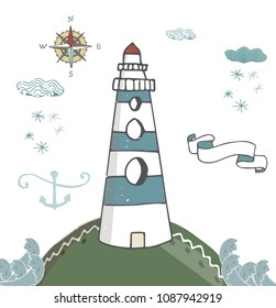 Lighthouse blue ribbon anchor kompas lighthouse white beacon, windows pharos, screed, seamark snowflake snow cloud landscape waves vector greeting data text celebration letter card on white background