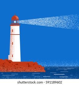 Lighthouse blue seascape horizon in night time.Vector illustration