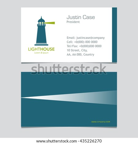 Lighthouse Business Sign Business Card Vector Stock Vector Royalty