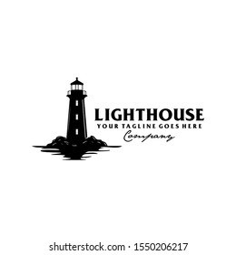 Lighthouse by the sea with ocean water
