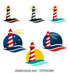 Lighthouse cartoon icon