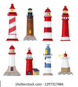 Lighthouse cartoon. Port security ocean or sea vector building