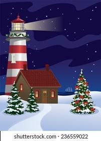Lighthouse and Christmas Tree