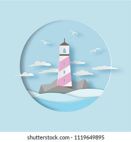 Lighthouse with clouds, gulls and waves. Sea landscape. Paper cut style. Vector illustration