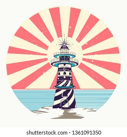 Lighthouse color tattoo and t-shirt design. Symbol of meditation, hiking, adventures