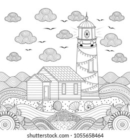 Lighthouse coloring book page for adult. Hand drawn. Vector illustration. Doodle style.