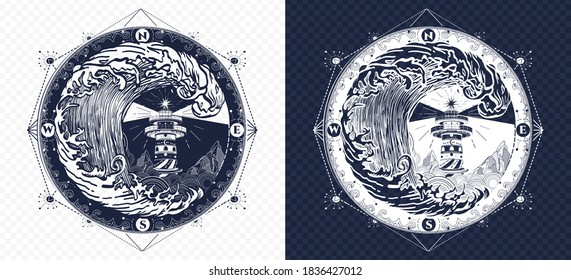 Lighthouse and compass tattoo and t-shirt design. Symbol of sea adventure. Large tsunami waves. Black and white vector graphics