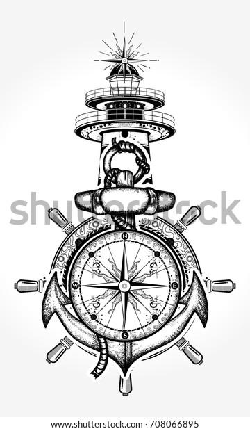 Lighthouse Compass Tattoo Tshirt Design Symbol The Arts Parks