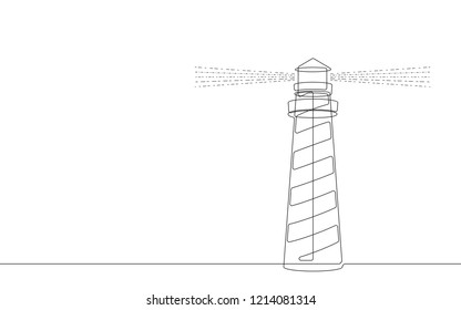 Lighthouse Continuous Vector Line Graphic