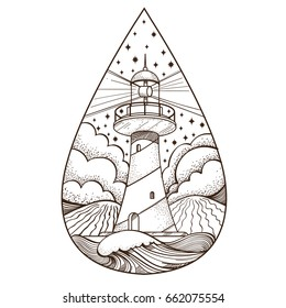 Lighthouse. Contour vector illustration for logo, emblem, coloring page and other items.