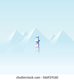 Lighthouse in dense fog or mist on the ocean, sea coast with mountains in the background landscape. Eps10 vector illustration.