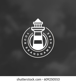 Lighthouse Design Element in Vintage Style for Logo or Badge Retro vector illustration. Lighthouse Silhouette.