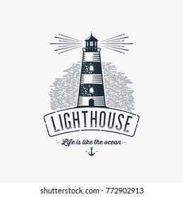 Lighthouse Design Element in Vintage Style for Logo or Badge Retro vector illustration. Vector illustration.