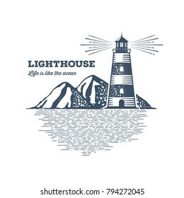 Lighthouse Design Element in Vintage Style for Logo or Badge Retro. Vector illustration.