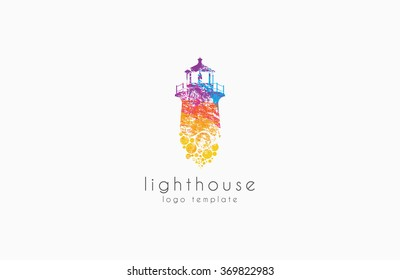 Lighthouse design. rainbow lighthouse. Lighthouse logo.