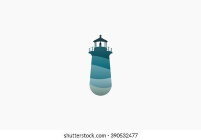 Lighthouse design. wave lighthouse. Lighthouse logo. Wave logo. Sea logo. Ocean logo