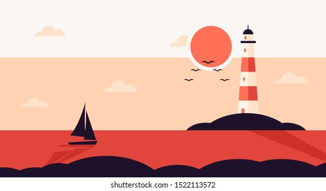 Lighthouse flat landscape in the coast at sunset, with panoramic view of ocean, sillhouette of sailing boat or sail boat. vector illustration