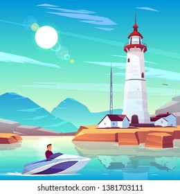 Lighthouse in harbor and powerboat with man passing by dwellings and tower stand on rocky coast at sunny day. Male Character drive motorboat in sea bay near beacon building Cartoon vector illustration