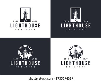 lighthouse hipster building harbour logo stock ilustration, lighthouse emblem set vector
