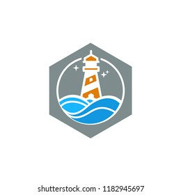 lighthouse icon design with ocean waves logo template vector illustration
