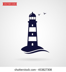 Lighthouse icon isolated on white background. Vector symbol.