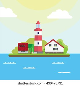 A lighthouse island in the sea. Color, vector, flat illustration.